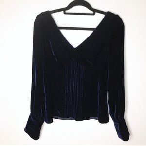 Alice + Olivia Midnight Blue Velvet Top